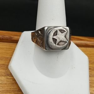Vintage Sterling Crescenr Moon and Star Ring